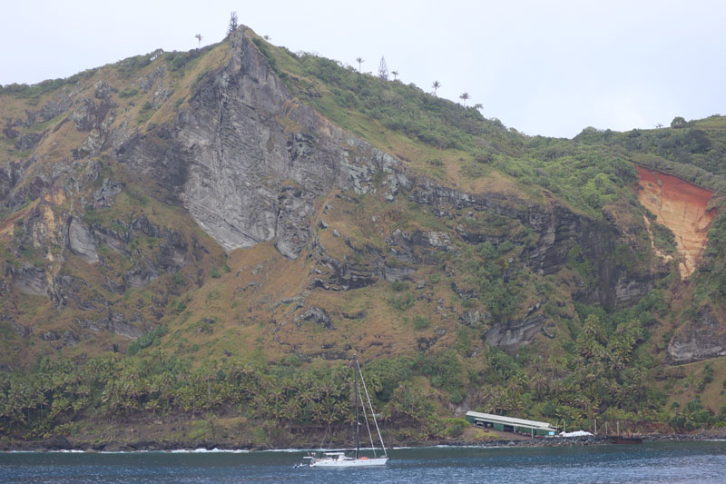 Pitcairn Island landing area from boat