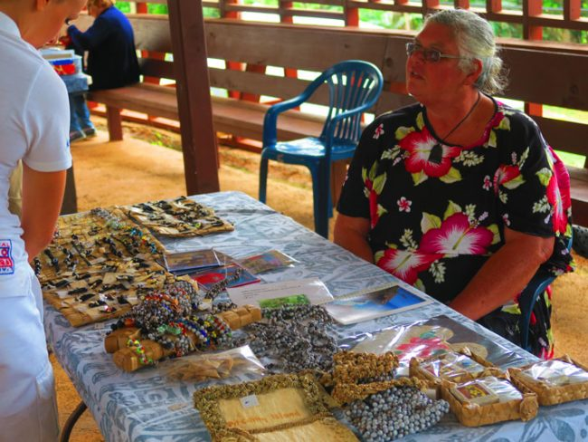 Pitcairn island crafts - local selling in adamstown market
