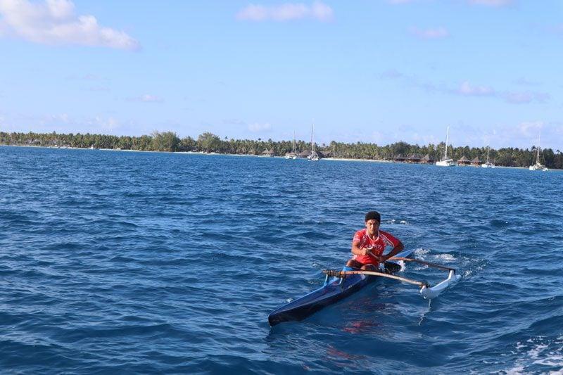 Polynesian canoe in lagoon - Rangiroa Atoll French Polynesia