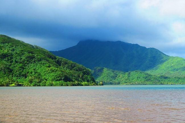 Raiatea Island French Polynesia mountain and bay