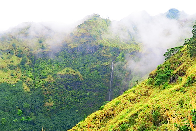 Road from airport Nuku Hiva Marquesas Islands French Polynesia waterfall
