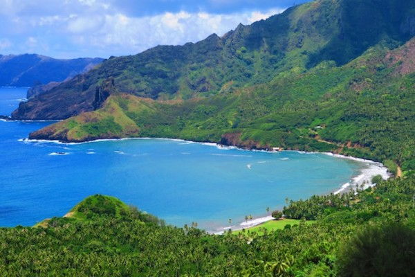 Road trip Hiva Oa Marquesas Islands French Polynesia Eiaone Bay clsoeup