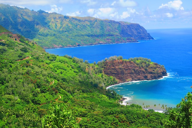 Road trip Hiva Oa Marquesas Islands French Polynesia bay and winding road