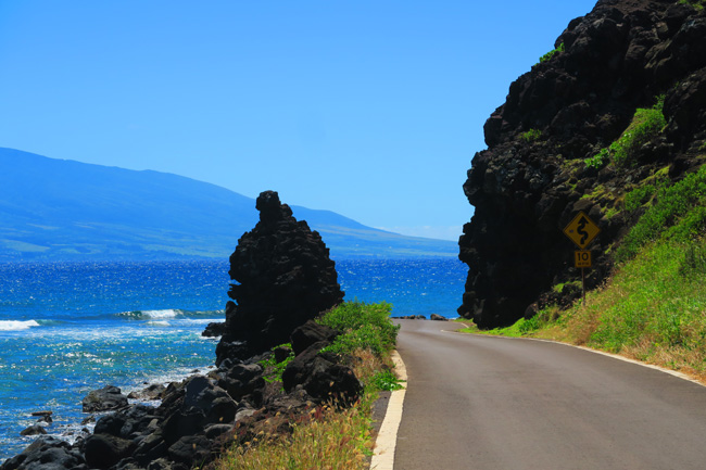 Scenic coastal road in Molokai Hawaii