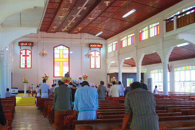 Sunday church service in Samoa - Savaia Church