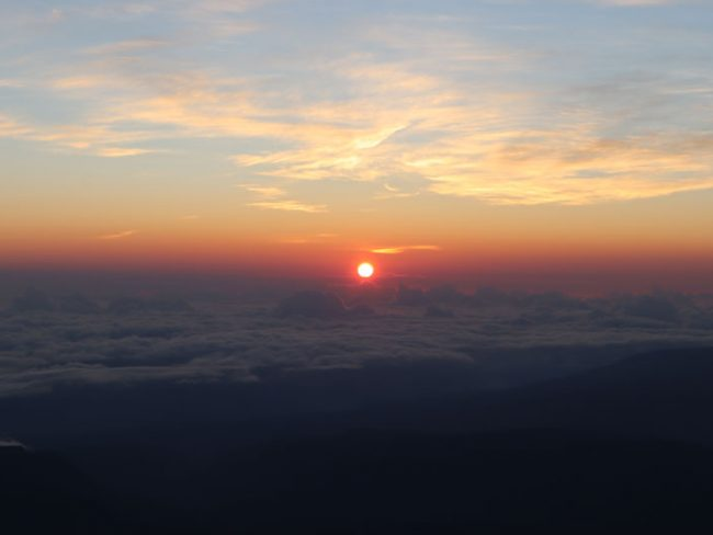Sunrise Reunion Island from Piton des Neiges summit 2