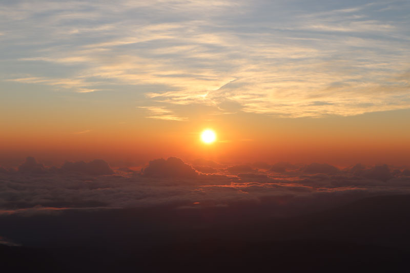 Sunrise Reunion Island from Piton des Neiges summit 4