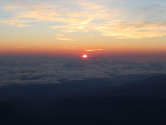 Sunrise Reunion Island from Piton des Neiges summit