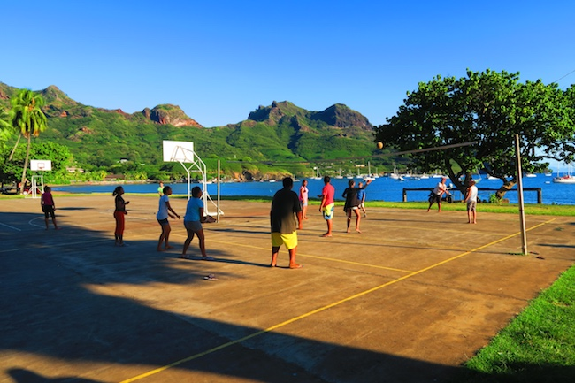 Taiohae Village volleyball Nuku Hiva Marquesas Islands French Polynesia