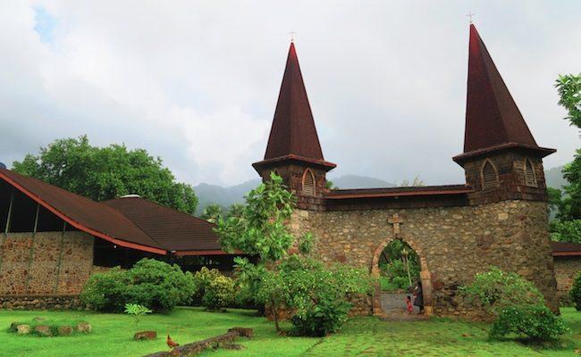 Taiohae village catholic church Nuku Hiva Marquesas Islands French Polynesia