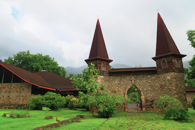 Taiohae village catholic church Nuku Hiva Marquesas Islands French Polynesia