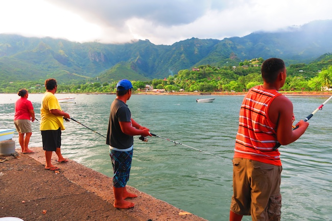 Taiohae village fishermen Nuku Hiva Marquesas Islands French Polynesia