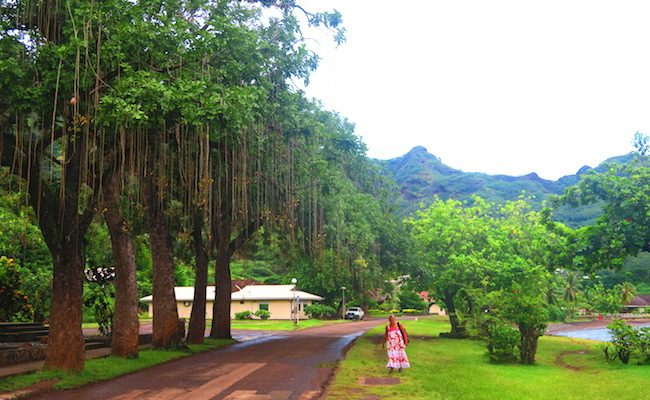 Taiohae village main road Nuku Hiva Marquesas Islands French Polynesia