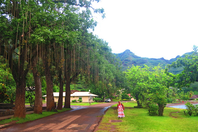 Taiohae village main road Nuku Hiva Marquesas Islands French Polynesia