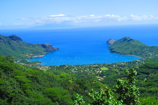 Taiohae village panoramic view Nuku Hiva Marquesas Islands French Polynesia