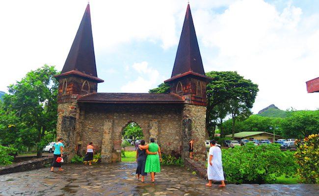Taiohae village sunday service Nuku Hiva Marquesas Islands French Polynesia