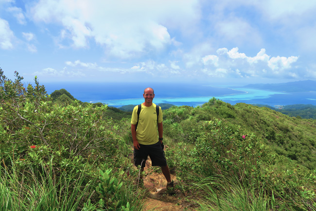 Temehani Plateau hike Raiatea Island French Polynesia me with mountains