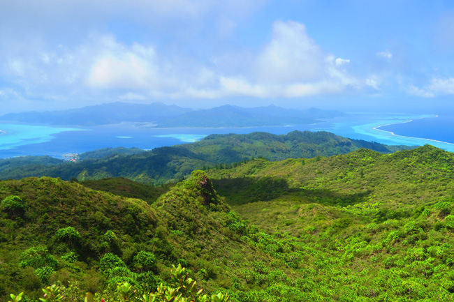 Temehani Plateau hike Raiatea Island French Polynesia panormaic view of tahaa and lagoon