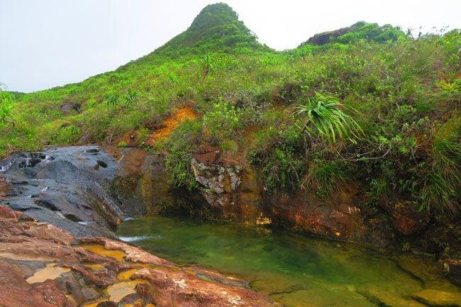 Temehani Plateau hike Raiatea Island French Polynesia waterhole lunch stop