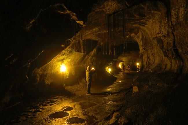 Thurston Lava Tube view inside - Hawaii Volcanoes National Park Big Island