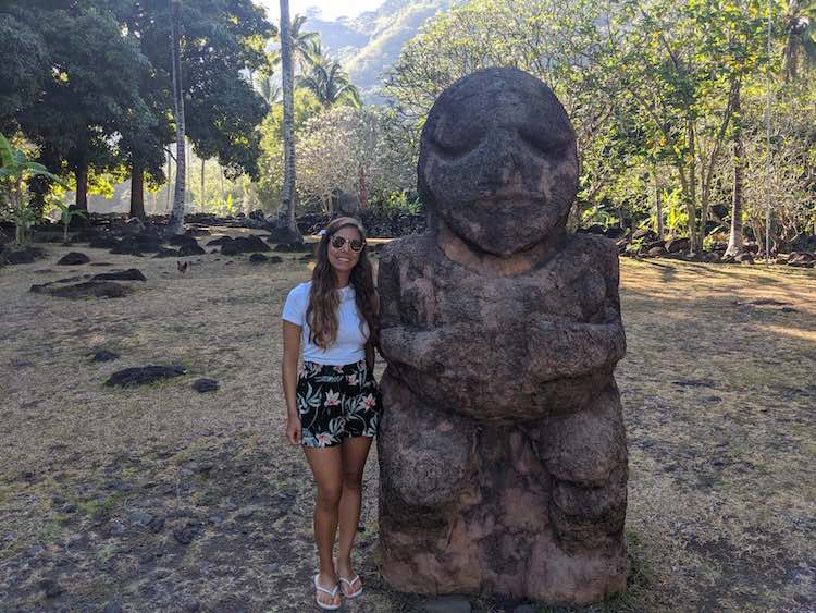 Tiki Statue in Marae in Tahiti French Polynesia