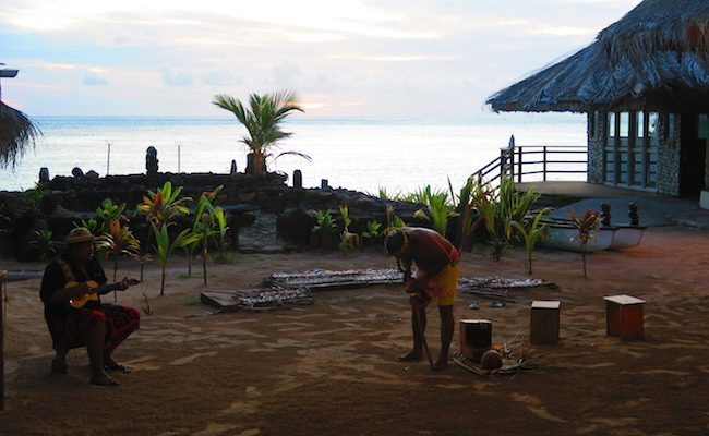 Tiki Village Moorea French Polynesia oopening coconut
