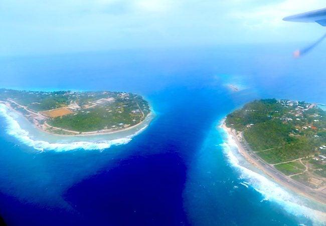 Tiputa Pass Rangiroa French Polynesia from the air