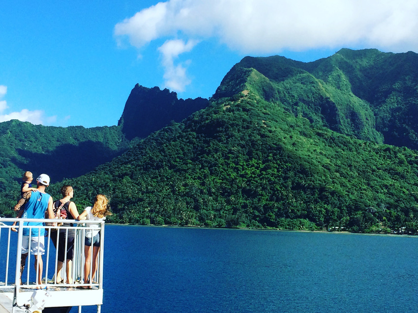 View from ferry to Moorea from Tahiti - French Polynesia