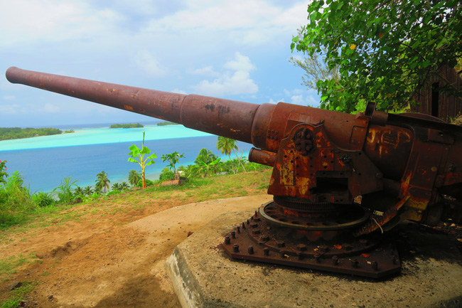 WWII guns in bora bora french polynesia