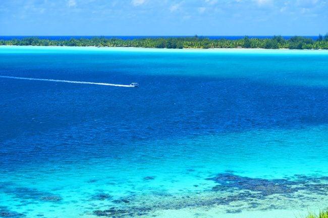 boat in lagoon bora bora french polynesia