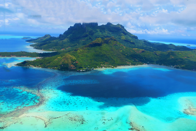 bora bora french polynesia aerial view