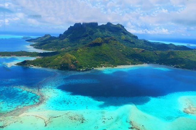 bora bora french polynesia aerial view