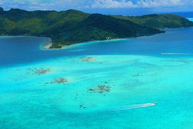 bora bora french polynesia from the air