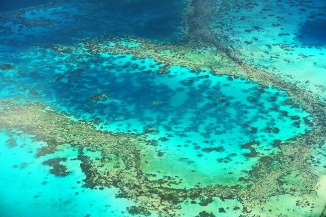 bora bora lagoon from the air french polynesia