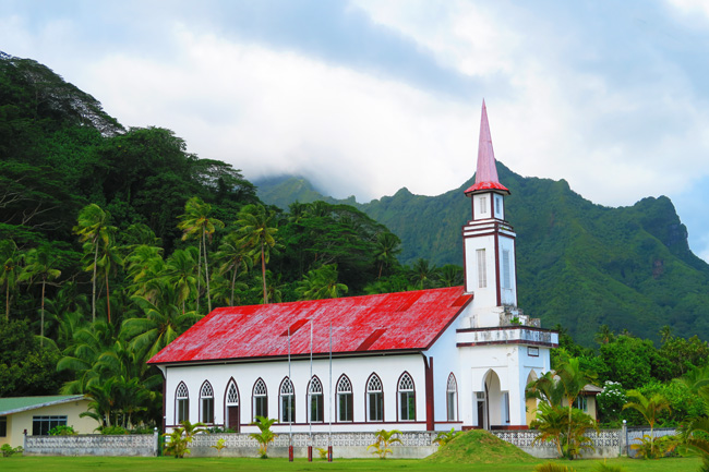 church in Raiatea Island French Polynesia countryside