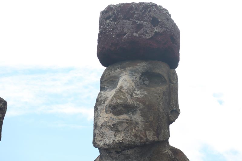 closeup of moai statue face - Ahu Tongariki - Easter Island