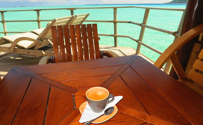 le tahaa luxury resort french polynesia - overwater bungalow coffee