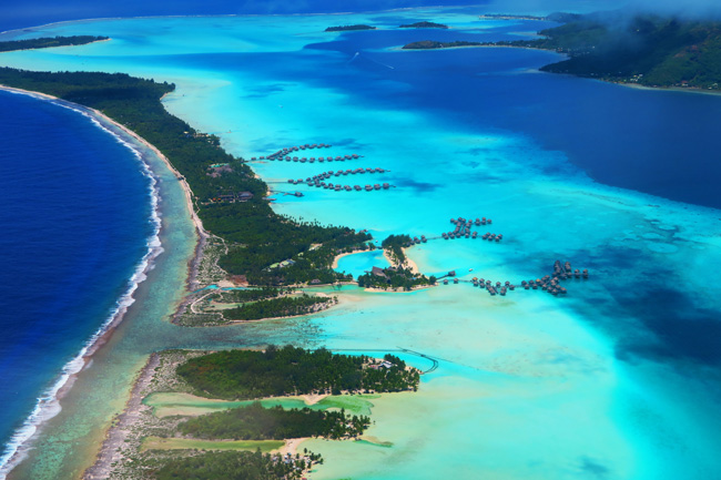 luxury resorts from the air bora bora french polynesia