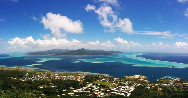 mount tapioi hike panoramic view of tahha Raiatea Island French Polynesia