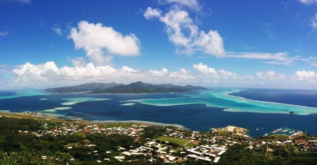 mount tapioi hike panoramic view of tahha Raiatea Island French Polynesia