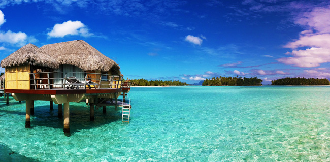 overwater bungalow in tropical lagoon le tahaa french polynesia