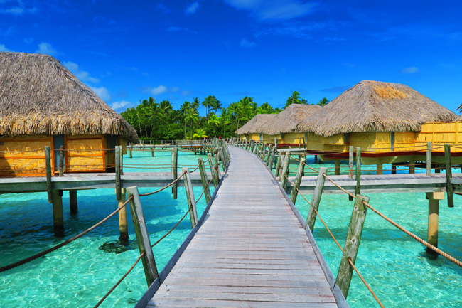 overwater bungalows deck at le tahaa luxury resort french polynesia