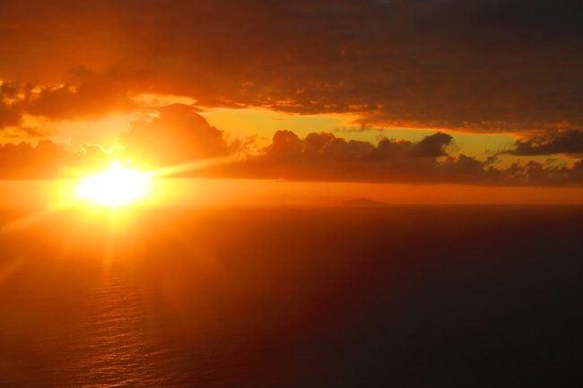 sunset over Maupiti french polynesia