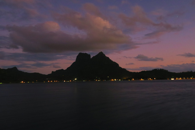 sunset over bora bora french polynesia