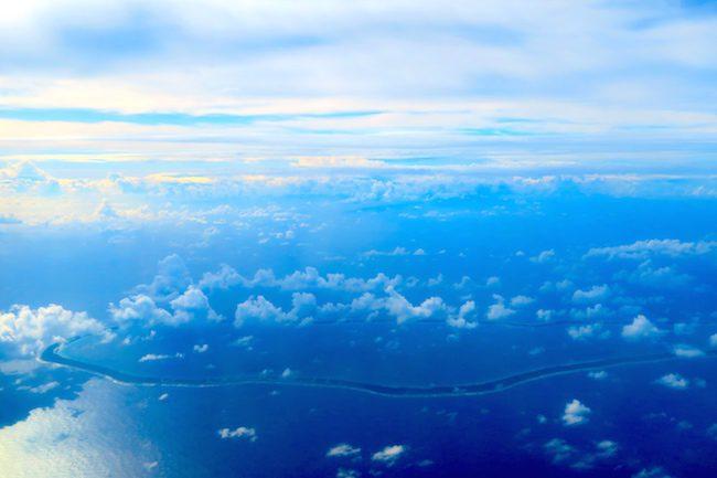 tuamotu atoll from the air french polynesia