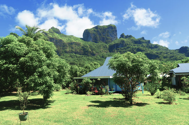 typical house in bora bora french polynesia