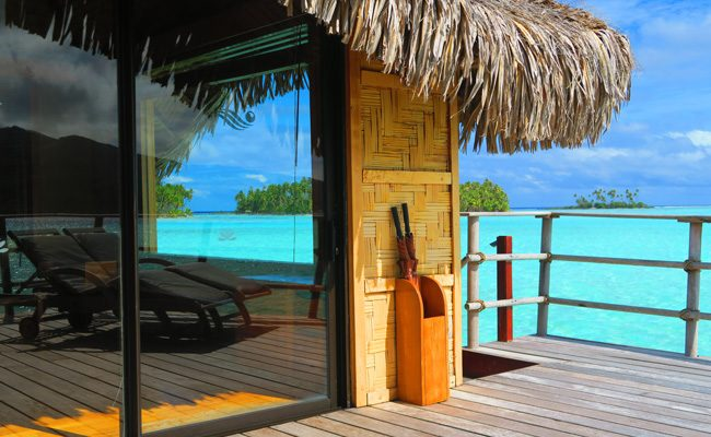 view from balcony at le tahaa luxury resort french polynesia