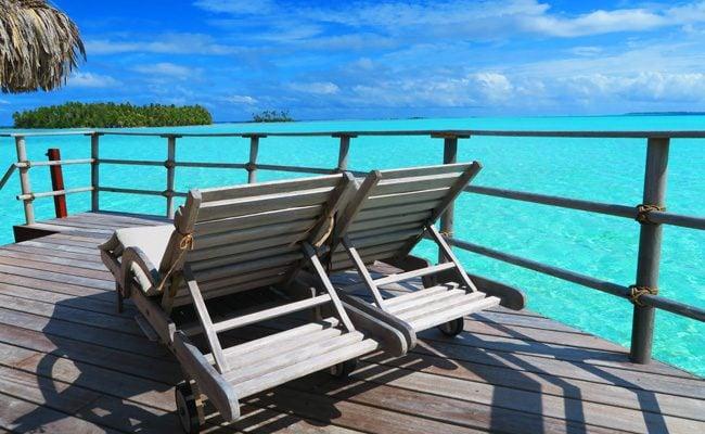 view from balcony le tahaa luxury resort french polynesia