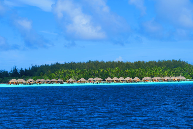 view of overwater bungallows in bora bora french polynesia