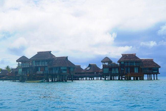 view of st regis bungallows in bora bora french polynesia